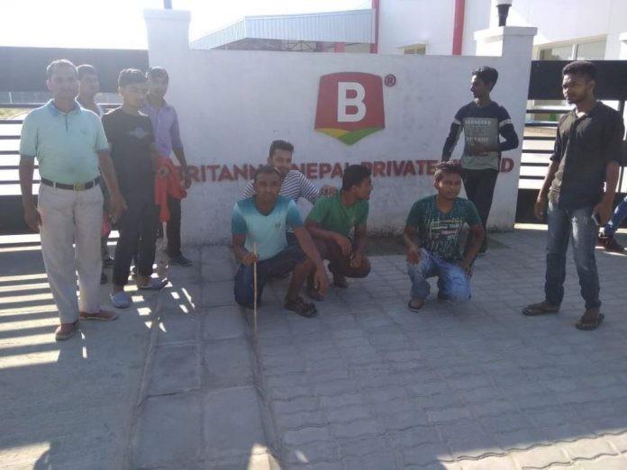 ब्रिटानिया नेपाल कम्पनीका मजदुरहरु आन्दोलित
